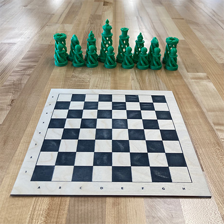 3D printed chess set with laser engraved chess board